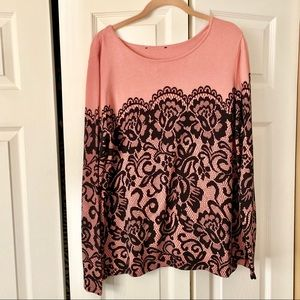 Bob Mackie Printed Lace Pullover Sweater In Blush